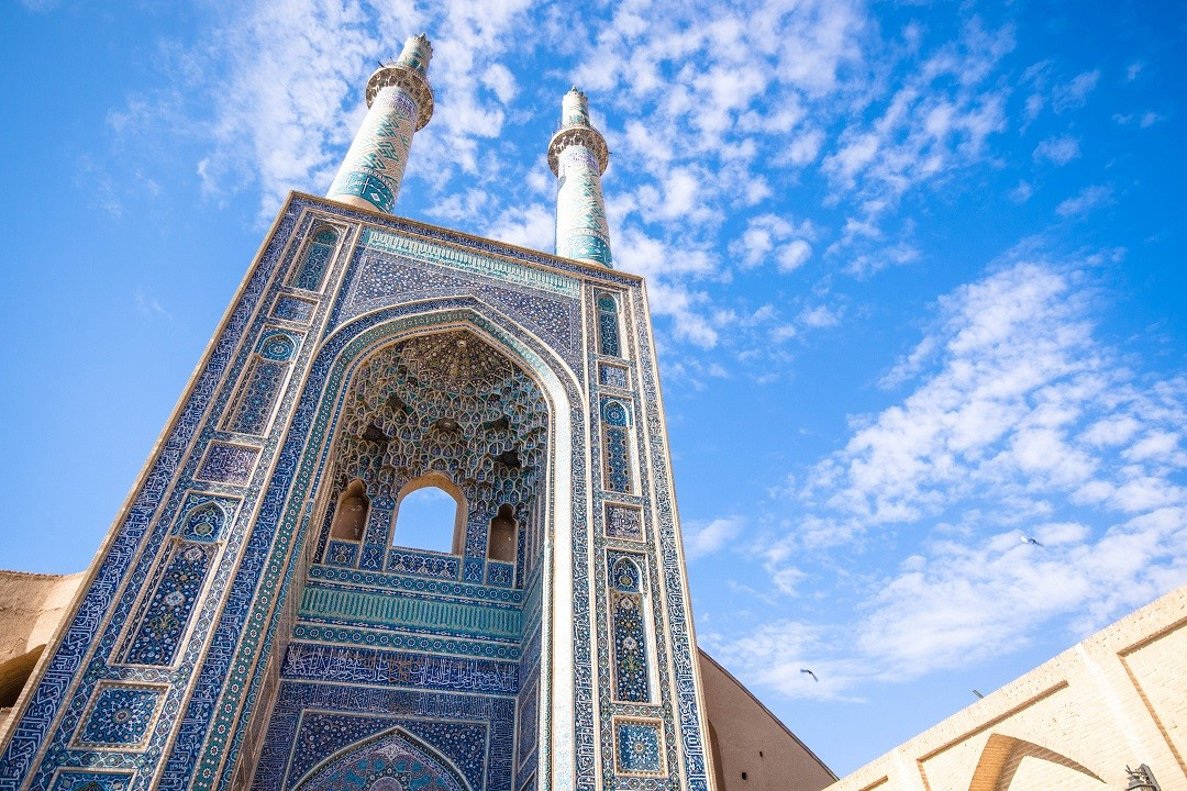 Yazd Jame Mosque, with the highest entrance of turquoise mosques